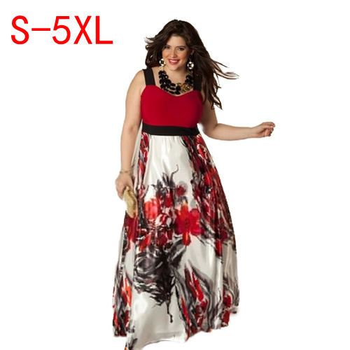 Detail Feedback Questions about QMGOOD Plus Size 5XL Summer Dresses 2017  women printing fat MM Party Harness Dress in the floor elegant Women Large  size ... 2940e63abbc1