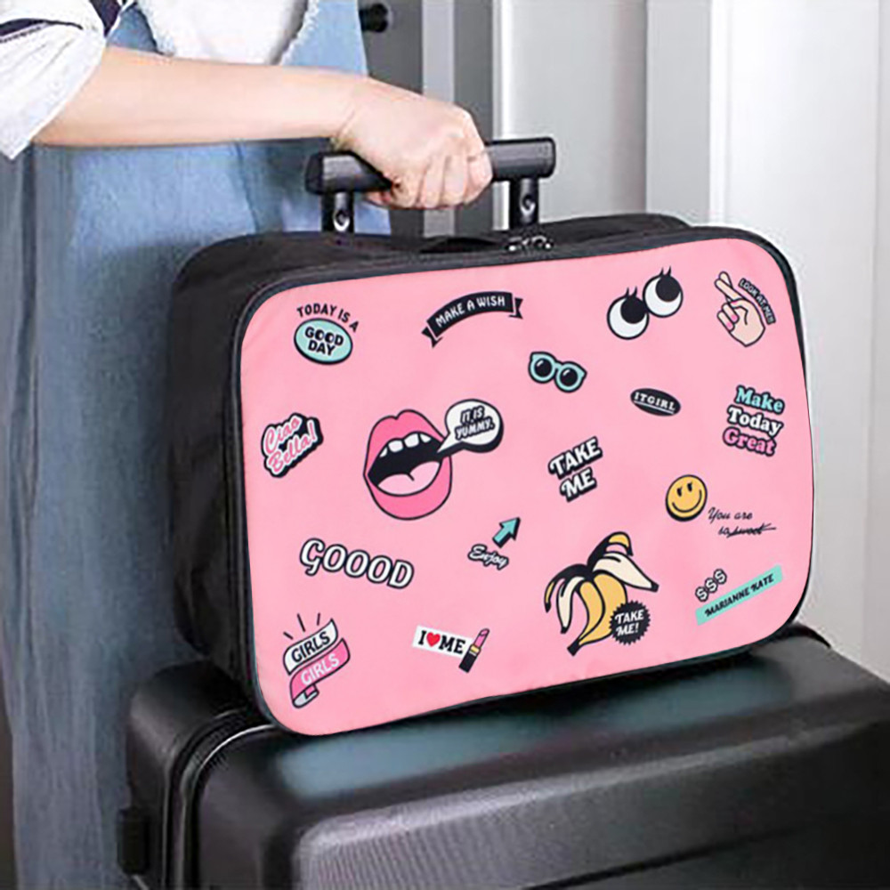 Handbag Storage-Bag Luggage Large Portable Fashion Oxford Zipper Cartoon Female Woman