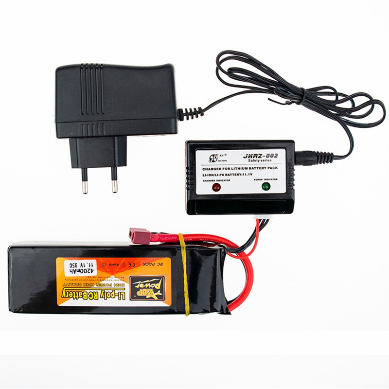 11.1V 4200mAh 3S 35C ZOP Power Lipo Battery T XT60 Plug Connector with Lipo Charger for RC Helicopter Qudcopter Car Airplane
