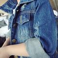 New 2016 Girls Autumn Coat Kids Denim Jackets Children Long Sleeve Jeans Coat Toddler Washed Denim Coat Fashion,2-7Y