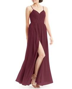Image 4 - Robe Demoiselle Dhonneur Burgundy Bridesmaid Dresses 2020 Long Chiffon Dress for Wedding Party Women Wedding Guest Dress