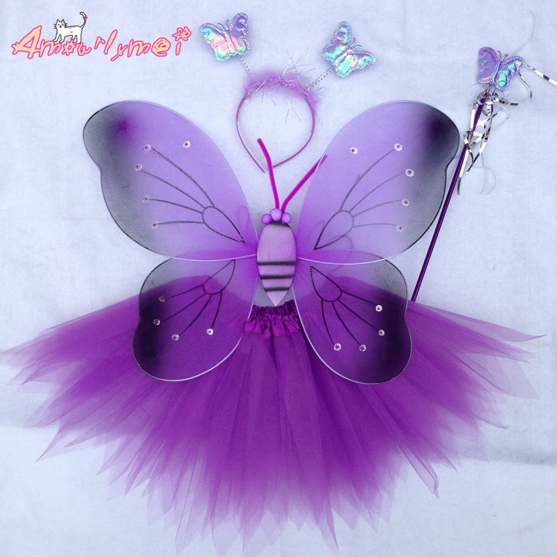 Angel Butterfly Wings+Tutu Skirt Halloween Party Cosplay Costume For Fairy Girls Kids Stage Performance Costume