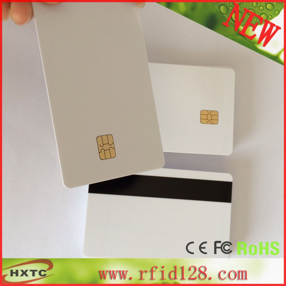 200PCS/Lot Printable Contact PVC Blank Card Sle4442 Chip with Hi-Co Magnetic Stripe For Espon /Canon inkjet Printer 20pcs lot double direct printable pvc smart rfid ic blank white card with s50 chip for epson canon inkjet printer