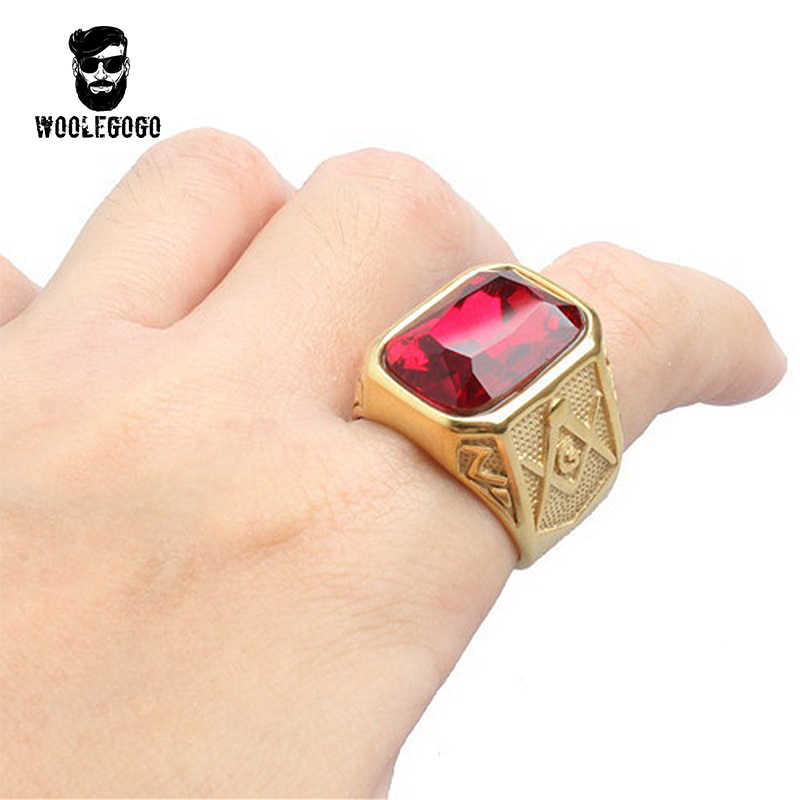 Gold Big Gem Masonic Ring Vintage Stainless Steel Mens Rings Retro Punk  Rock CZ Ring With Stone for Men Jewelry Wedding Bands