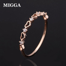US $1.79 40% OFF MIGGA Delicate Mini Zircon Crystal Pave Hollow Heart Ring Women Girls Gift Rose Gold Color Fashion Bague-in Rings from Jewelry & Accessories on Aliexpress.com   Alibaba Group