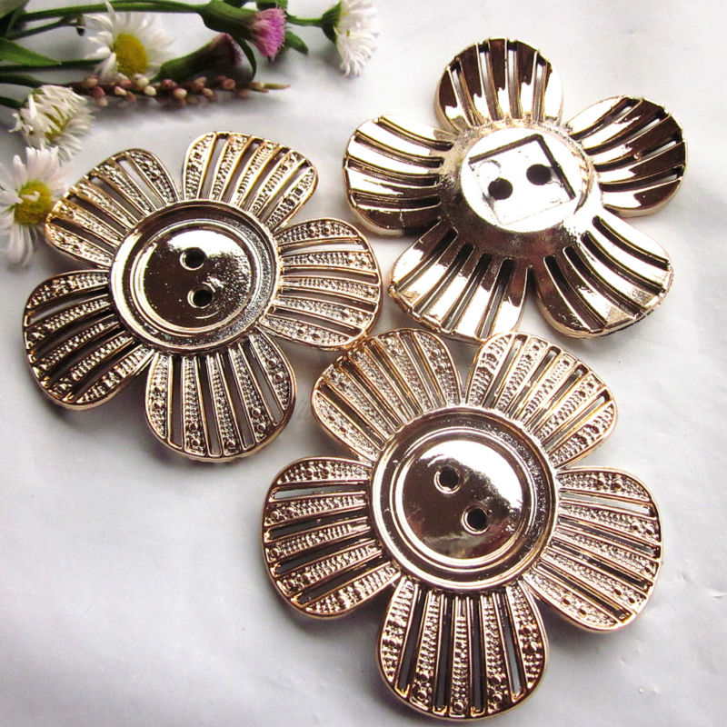 24pcs 48mm Rose gold flower decorative buttons for craft clothing headwear brooch makes accessories