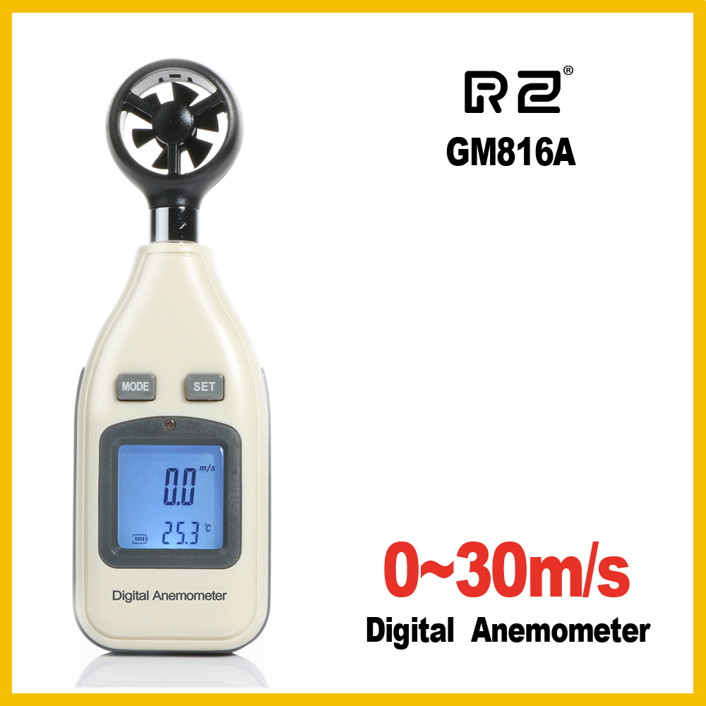 RZ GM816A LCD Digital Hand-held Wind Speed Gauge Meter Measure Anemometer Thermometer 30m/s (65MPH) Speed Measuring Instrument digital anemometer lcd air wind speed gauge anemometer thermometer 0 30m s wind speed 10 45c temperature meter with backlit