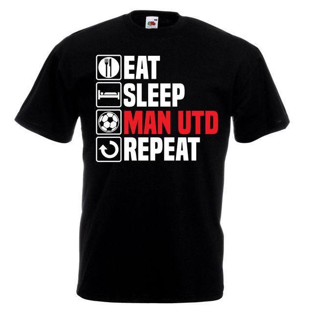 da7e1f1ae57 Men Designer Clothes O-Neck Style Tops Tees Eat Sleep Man Utd T Shirt  Footbalerl Manchester Fathers Day Birthday United Gift