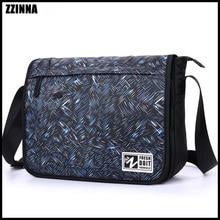 ZZINNA 13 Laptop Tablet PC Single Shoulder Bag for Men Teenage School Bag Waterproof Male Hand Bag Sling Bag Camouflage Blue