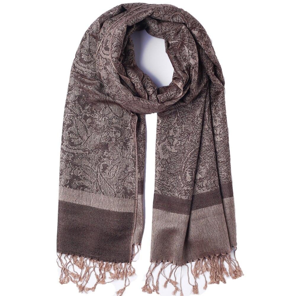 Pashimina Silk Winter Scarf  Autumn Shawl Paisley Jacquard Warp Cashmere Large Long 2 Tones Soft High Quality Brown