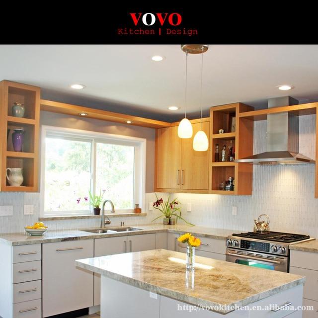 Hot Klasik Kayu Solid Lemari Dapur Mewah Dengan U