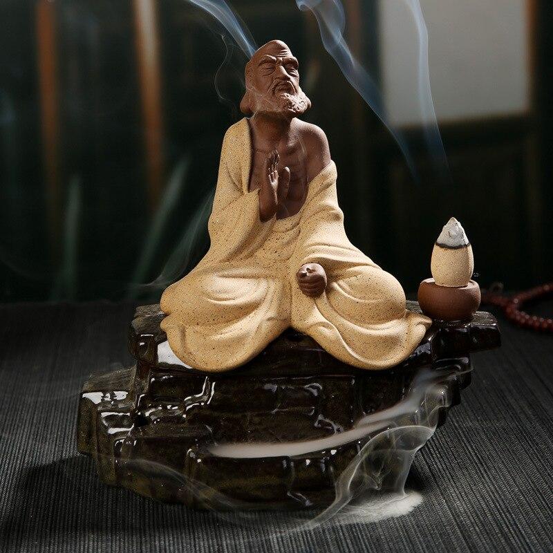 Creativo Bodhidharma Eminente Monaco Riflusso Torre Bruciatore di Incenso Coni Titolare Bastone di Incenso di Ceramica Incensiere Casa Decorazione