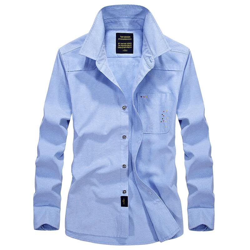2018 Men Big Size Casual Shirt Thin Solid Long Sleeve New Fashion Business Plant Mens Wear Shirt Men Deep Blue 4XL 5088
