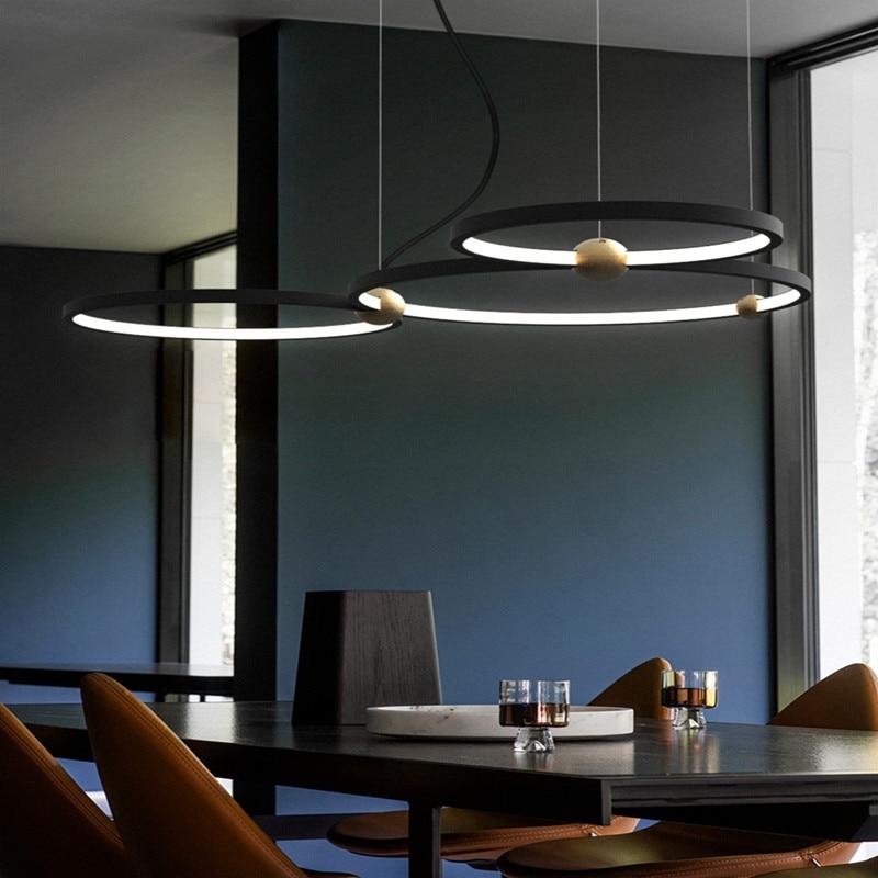 Loft Designer Led Circle Pendant Light Creative Unique Lopp Dining Room Hanging Lights Retro Led Hotel