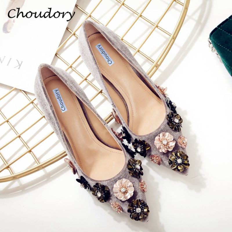 цены  Choudory High Heels Woman Pumps Spring Autumn Flower Decoration Woman Shoes Attractive Flock Pointed Toe Party Zapatos Mujer