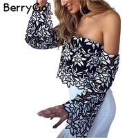 BerryGo Off Shoulder Ruffle Lace Blouse Shirt Women Sexy Black Lace Crop Top Female Streetwear Fashion