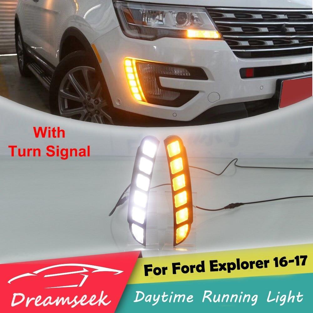 LED DRL for Ford Explorer 2016 2017 Daytime Running Light With Turn Siganl Lamp tcart waterproof abs cover car led drl led daytime running light for ford explorer 2016 2017