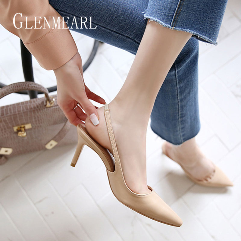 Women High Heels Shoes Pointed Toe Brand Female Pumps Spring Summer Wedding Shoes Thin Heels Ladies Shoe Plus Size 2019 DE
