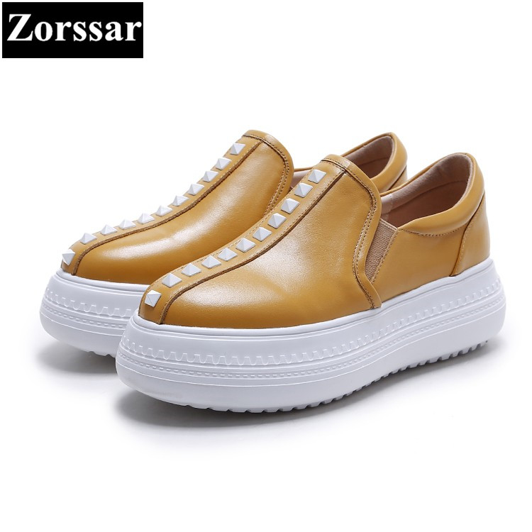 {Zorssar} 2017 Fashion rivets Cow leather Casual Womens Flats Creepers shoes Female loafers Slip On Women Flat platform shoes cresfimix women cute spring summer slip on flat shoes with pearl female casual street flats lady fashion pointed toe shoes