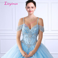 Linyixun Tulle Ball Gown Quinceanera Dresses With Crystals Beaded Pink sweet 16 Dress Custom made vestidos de 15 anos