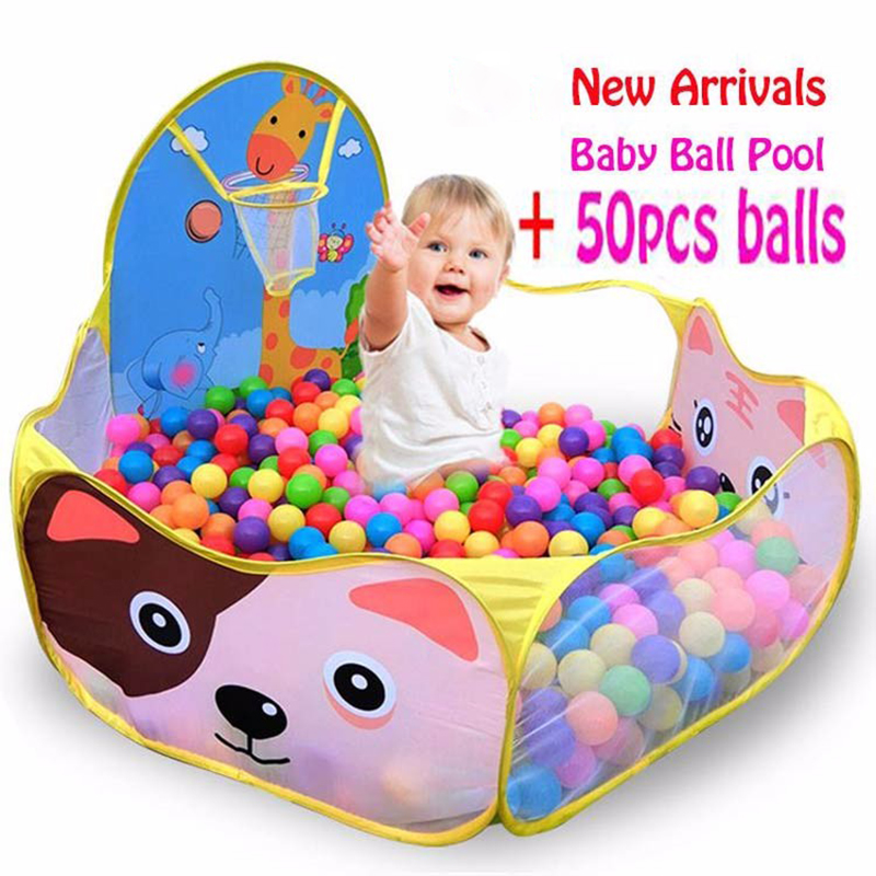 Baby Playpen Plastic Playpen 50pcs 6cm Balls+1.2M Baby Playpens For Outdoor/Indoor Tent Activity Fencing