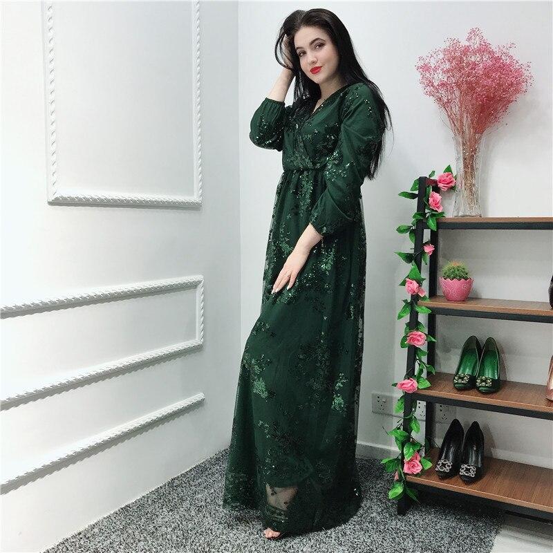Sequin Vestidos Compridos Abaya Kaftan Dubai Arabic Hijab Muslim Dress Caftan Eid Dresses Ramadan Elbise Robe