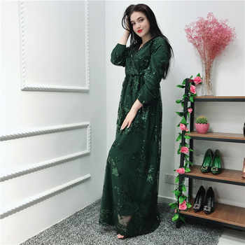 Sequin Vestidos Compridos Abaya Kaftan Dubai Arabic Hijab Muslim Dress Caftan Eid Dresses Ramadan Elbise Robe Femme Sukienki - DISCOUNT ITEM  53% OFF All Category