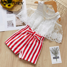Keelorn Girls Clothing Sets 2017 Summer Fashion Style Kids Clothes Sleeveless Striped T-shirt + Plaid shorts 2Pcs Suit Kids bear leader kids clothes 2018 fashion sleeveless summer style baby girls shirt shorts belt 3pcs suit children clothing sets