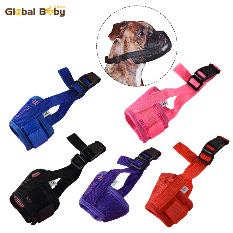 Hot Sale 5 Sizes 5 Colors Preventing Barks Nylon Soft Dog Pet Muzzle Mask