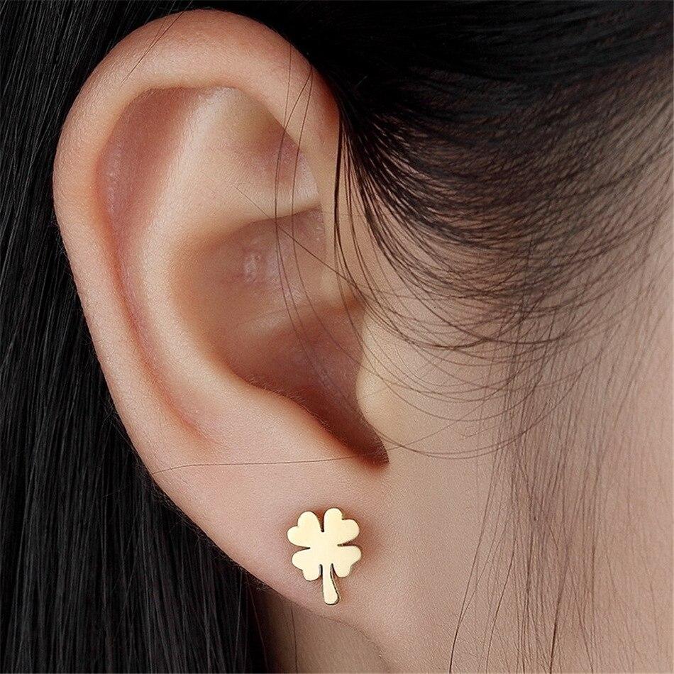 FGifter Good Luck Clover Earrings for Women Girls Small Flower Earring Gold Color Stainless Steel Jewelry Korea gold earrings for women