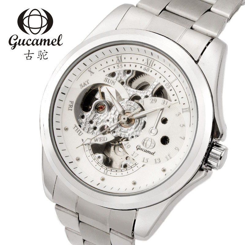 Fashion&Casual Hollow Stainless Steel Male Business Watches Classic Exquisite Skeleton Tourbillon Mechanical Men Wristwatches