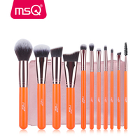 Free Shipping MSQ 11pcs Makeup Brushes Set Rose Gold Aluminium Make Up Brush High Quality Synthetic