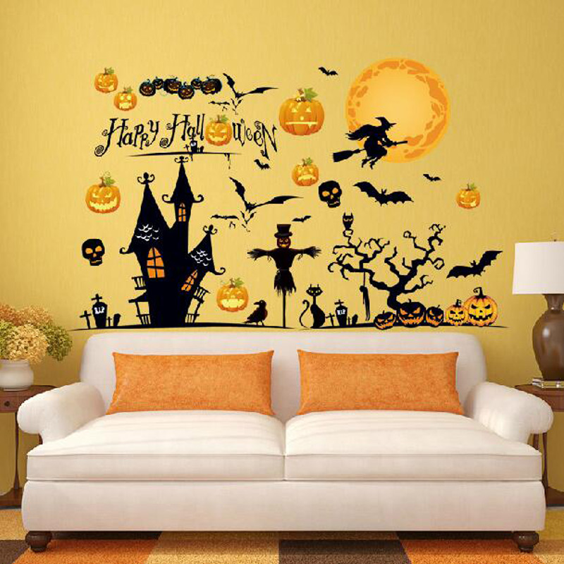 halloween home decor removable wall stickersdecaldecoration pumpkin bat witch novelty toy happy halloween day free shipping