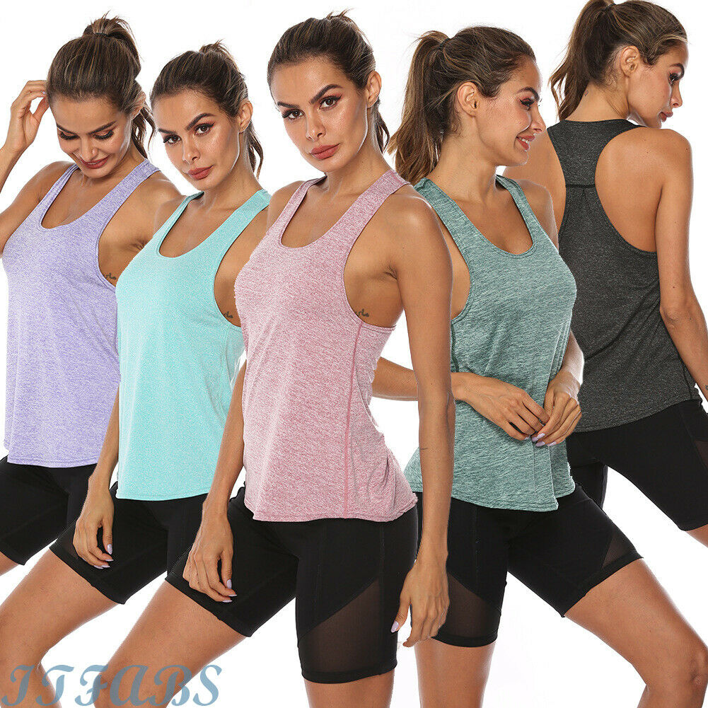 New Ladies Sleeveless Muscle Racer Back Plain Bodycon Vest Gym Long T-Shirt Top