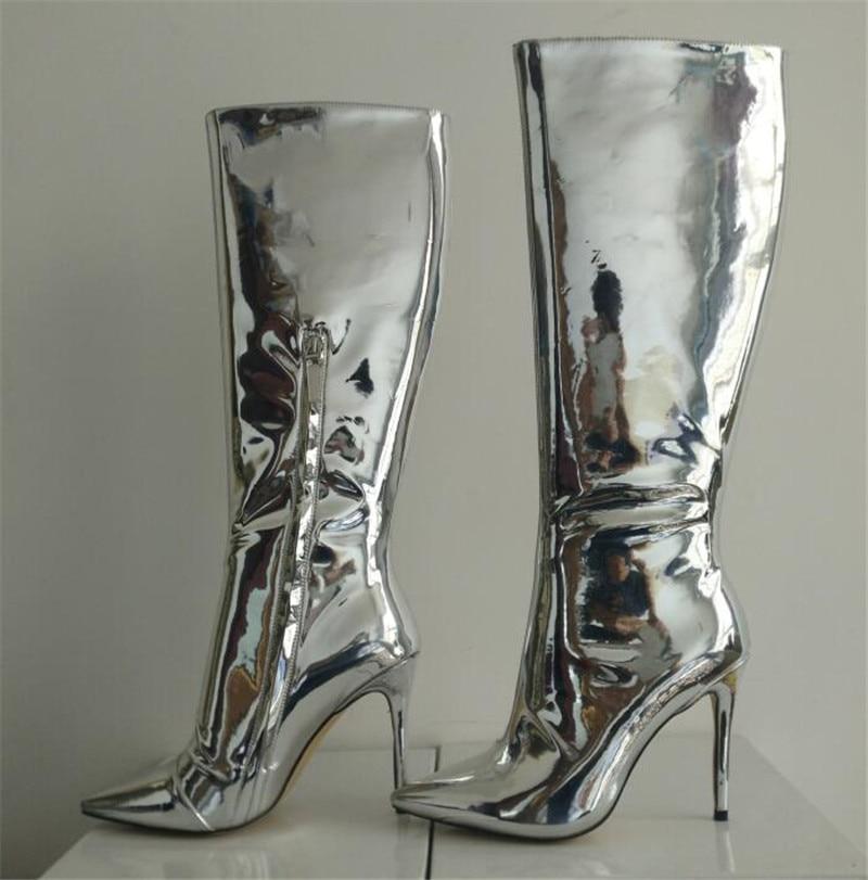 Chaussons Sexy Genou silver Catwalk Aiguille Long Haute Bottes Cuir Talon Toe Argent Pour Verni Gold Femmes En Miroir Point 6wxgAS
