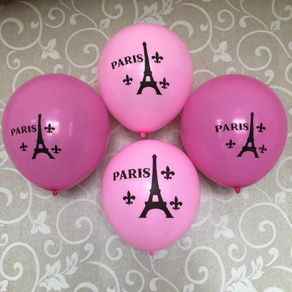 12 Pink Paris Eifel Tower Balloons I Love Theme Sweet 16 Birth Princess 7th 13th