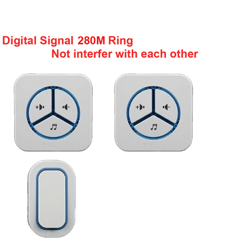 1 emitter+2 receivers doorbell Waterproof 280m work wireless doorbell,wireless door chime,wireless bell, 48 melodies door bell ks v2 welcom chime bell sensor