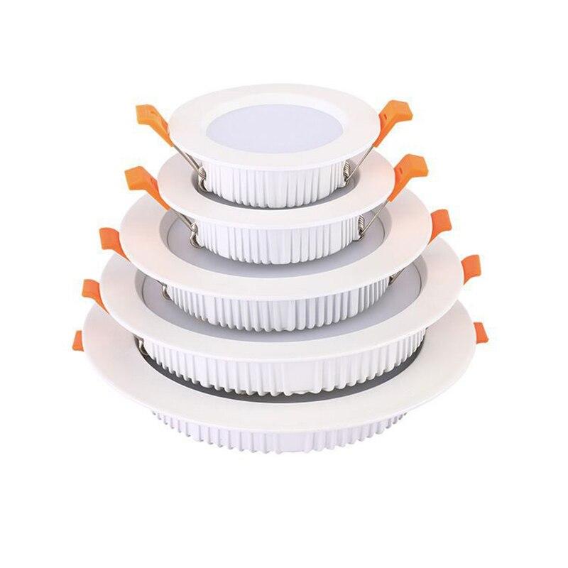 LED Downlight 3W 5W 7W 9W 12W 15W 18W 24W Round Ultrathin AC220V SMD 2835 Power Driver Ceiling Panel Lights Cool Warm White Lamp