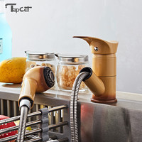 Kitchen Pull Out Cool Painted Finish Flexible Hot And Cold Mixer Sink Taps Deck Mount Swivel