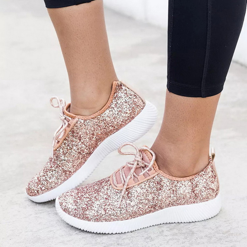 WENYUJH Vulcanized Shoes Women Casual Shoes Women Glitter Sneakers Bling White Sneakers Lace-up Sparkly Shoes Zapatos Mujer 2019