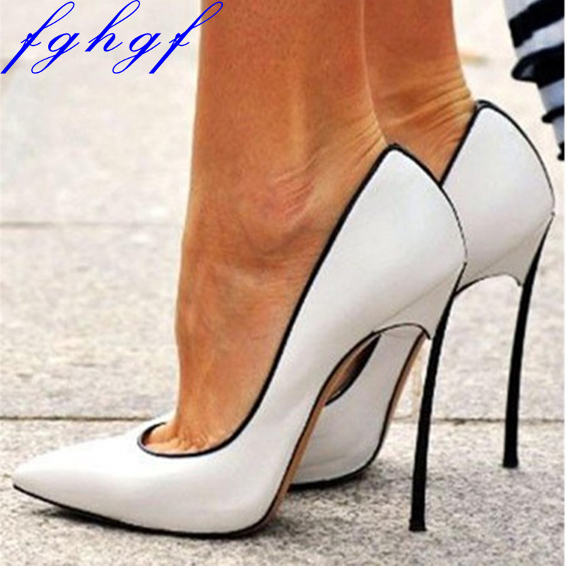 FGHGF NEW Woman shoes, sweet are free delivery, white patent leather, black edge, <font><b>12</b></font> <font><b>cm</b></font> stiletto <font><b>pumps</b></font> image