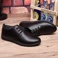 Homens Lace-up dedo do pé Redondo de couro Genuíno de Inverno de Veludo Quente Barato plana com sapatos de homem de Negócios de Trabalho verão estilo Plus Size (7-15)