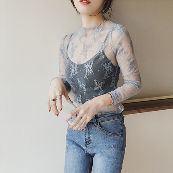 Summer Women Lace Floral Embroidery Blouses Shirt Ladies tops Sexy mesh Blouses Transparent Elegant See-through Black Shirt 6