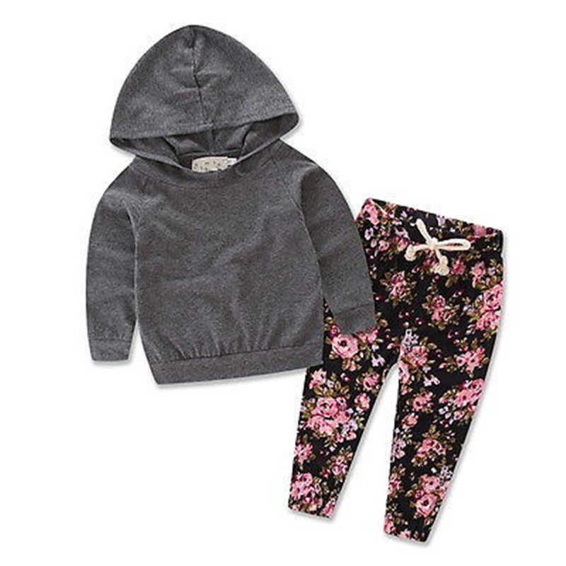2016 Autumn Newborn Baby Girls Grey Hooded Tops Outerwear+Floral Pants Outfits Set Clothes цены онлайн