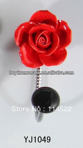 new design single hook with colored ceramic flower and knob ball coat hook coat hanger towel hook wholesale YJ1049