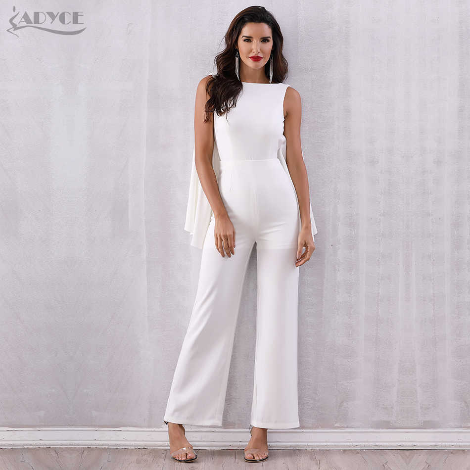 993ba8674 ADYCE 2019 Women Celebrity Runway Jumpsuits White Halter Batwing Sleeve  Backless Rompers Women Jumpsuit Sexy Bodycon