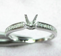 SOLID 14K WHITE GOLD 5MM ROUND CUT 0.10CT DIAMOND SEMI MOUNT ENGAGEMENT RING