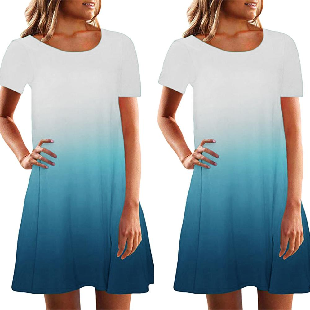 2019 Summer Casual Solid Loose Fitting Gradient Women Dresses Short Sleeve Crew Neck