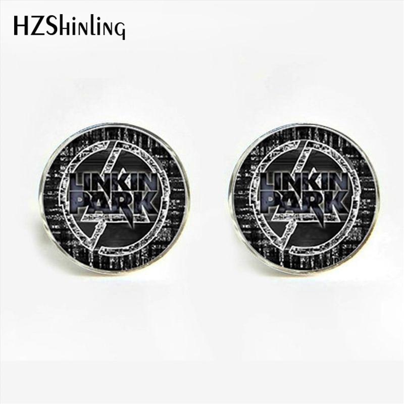 HZShinling American Linkin Park logo Cufflinks Fashion Linkin Park Shirt Cuff  Jewelry Glass Dome Cuff Button for men