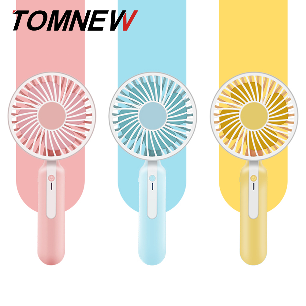TOMNEW Mini Portable Fan 1200mAh USB Rechargeable 3 Speed Strong Wind Handheld Stand Table Cooling Fan 2018 New for Home Office new mini cooling rechargeable fan